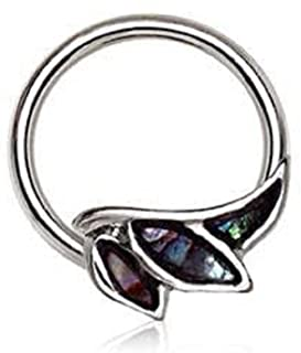 316L Stainless Steel Abalone Shell Angel Wing Snap-in WildKlass Captive Bead Ring/Septum Ring