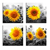 Canvas Wall Art for Living Room Bathroom Wall Decor for Bedroom Kitchen Artwork Canvas Prints Sunflower Flowers Painting 12' x 16' 3 Pieces Modern Framed Office Home Decorations Family Picture