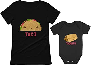 Taco & Taquito Baby Bodysuit & Women's T-Shirt Set Mommy & Me Matching Outfit