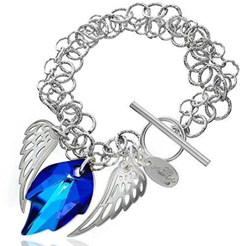 Pulsera única con cristales de Swarovski, alas de ángel azul, plata de ley 925.