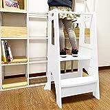 zzbiqs kids kitchen helper step stool, height adjustable standing platform children standing tower,