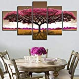 YYTOOF HD 5 Consecutive Paintings Modern Art Decorative Wall a Set of 5 Pieces Landscape Pink Tree Poster Modular Canvas Print Type Painting