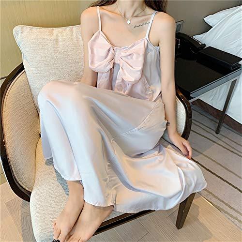 YUNCHENG Is Silk Sling Nightdress Kvinna sommar Ins Princess Style 2021 Ny stil kan bäras utanför nätet Red Explosive Pajamas hemtjänst (Color : White, Size : One size)