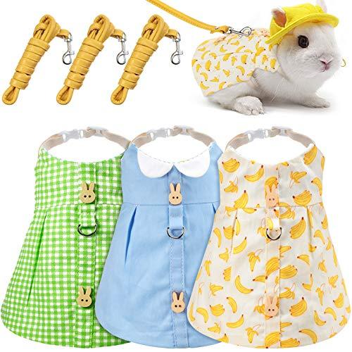 3 Pieces Pet Rabbit Dress, Breathable Bunny Rabbit Harness and Leash Set Escape Proof Cute Small Animals Pet Costume Rabbit Walking Harness Dress for Rabbit Hedgehog Ferret Piggies Squirrel