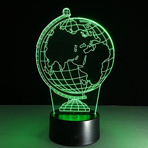 3D Carte De La Terre Nuit Lampe 16 Couleurs Changeantes Puissance Usb Contact Switch Lampe Décorative Illusion Optique Led Lampe De Table Anniversaire Noël Cadeau Enfants Jouets