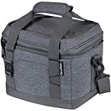 CleverMade Collapsible Soft Cooler Bag Tote - Insulated 18 Can Leakproof Small Cooler Box with Bottle Opener and Shoulder Strap for Lunch, Beach, and Picnic - Grey