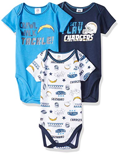 NFL Los Angeles Chargers Male 3 Pack Short sleeve Variety Bodysuit, Blue, 3-6 Months