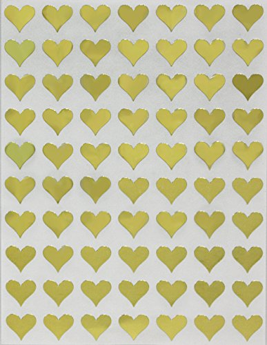Royal Green Metallic Gold Hearts Stickers for envelopes, Invitation Seals, Gift Packaging, Boxes and Bags 13mm (1/2') 0.5-1050 Pack