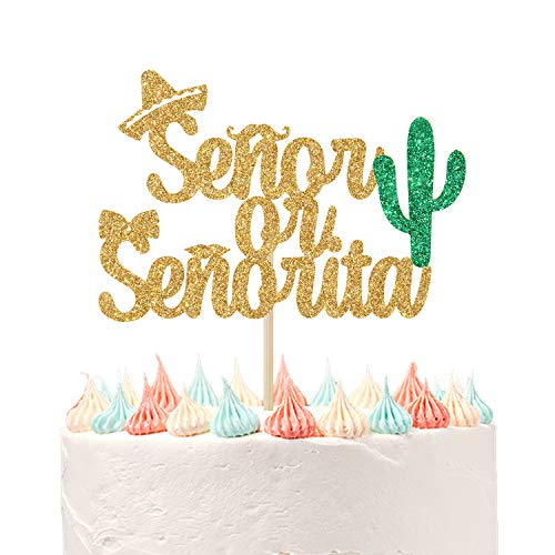 Spanish Señor or Señorita Gender Reveal Cake Topper, Boy or Girl, He or She, Baby Shower/Gender Reveal Party Decorations Gold Green Glitter.