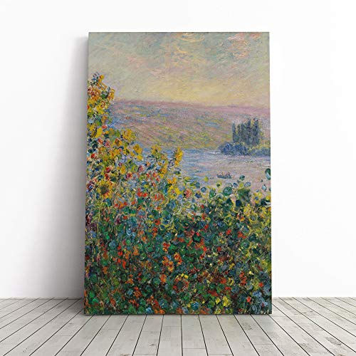 Big Box Art Canvas Print Wall Art Claude Monet Flower Beds at Vetheuil   Mounted & Stretched Box Frame Picture   Home Decor for Kitchen, Living Room, Bedroom, Hallway, Multi-Colour, 20x14 Inch