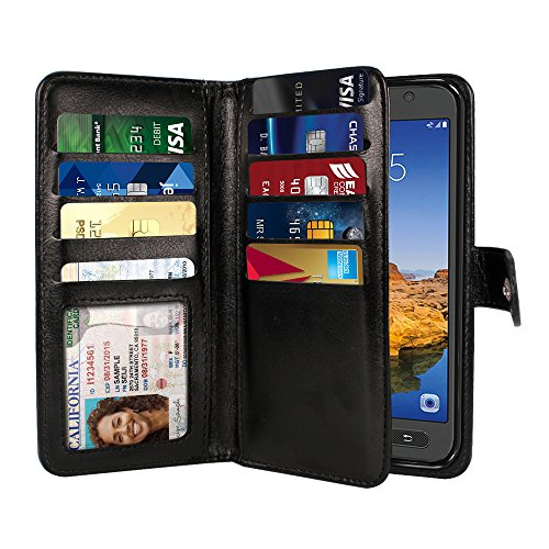 NEXTKIN Case Compatible with Samsung Galaxy S7 Active G891, Dual Wallet Folio TPU Cover Large Pockets Double Flap, Multi Card Slots Button Strap for Galaxy S7 Active (NOT FIT S7, S7 Edge) - Black