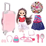 PALA PERRA Doll Suitcase, Doll Travel Set, Including Pink Luggage, 6.3 Inch Doll, Doll Dresses, Shoes, Clothes Hangers, Handbag, Camera etc., Doll Travel Case for 3 to 9 Year Old Kids Girls Gifts