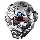 Casco de Moto Cool Transformers,Casco Integral de La Cara Frontal de La Motocicleta Personalizada de La Lente,Casco Homologado Dot Cuatro Estaciones Universal,XL:61~62cm