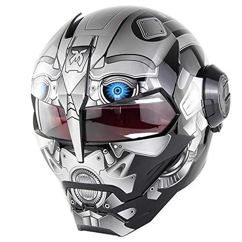 Casco de Moto Cool Transformers,Casco Integral de La Cara Frontal de La Motocicleta Personalizada de La Lente,Casco Homologado Dot Cuatro Estaciones Universal,XL:61~62cm ⭐