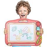 DUTISON Ardoise Magique Grande 41.5 X 32.5 cm, Multicolore Effaçable Magnetique Peinture Tableau avec 3 Formes pour Enfants 3 4 5 Ans (Rose)