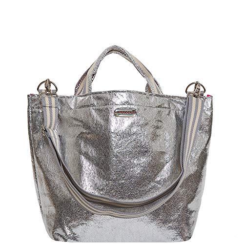 brasi&brasi Shopper Shop&Stripe Glitter Zip Silber NEU!!NEU!!NEU!!