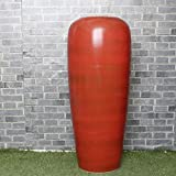 WULIAN Florero de cerámica Clásico Retro Porcelana Flor Estilo Chino Simple Antiguo francés Jingdezhen Hecho a Mano Muebles para el hogar Pollo Adorno Rojo Sangre Conjunto Tres Piezas