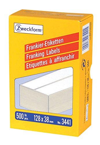 AVERY Zweckform 3441 Frankier-Etiketten (Papier matt, 500 Etiketten, 128 x 38 mm) 1 Pack weiß