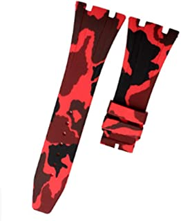 28mm Camouflage Rubber Watch Strap Band with Buckle Clasp for Audemars Piguet Royal Oak Offshore 15703 AP100