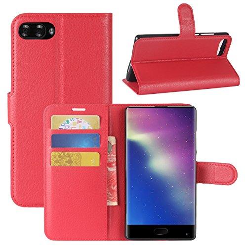HualuBro Doogee Mix Hülle, [All Aro& Schutz] Premium PU Leder Leather Wallet Handy Tasche Schutzhülle Hülle Flip Cover mit Karten Slot für DOOGEE Mix 5.5 Inch 4G Smartphone (Rot)