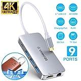 VANMASS USB C Hub 9 in 1 Aluminium USB C Adapter mit 4K HDMI, USB 3.0 Ports, Type C PD, Gigabit...