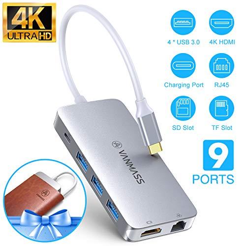 VANMASS USB C Hub 9 in 1 Aluminium USB C Adapter mit 4K HDMI, USB 3.0 Ports, Type C PD, Gigabit Ethernet RJ45, SD/TF Kartenslot Kompatibel mit MacBook Air/Pro Surface Chrombook und Mehr Type-C Geräte