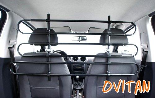 OVITAN® Hundegitter fürs Auto 6 Streben universal zur Befestigung an den Kopfstützen der Rücksitzbank - für alle Automarken geeignet - Modell: H06
