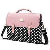 LOVEVOOK Computer Bag Laptop Bag for Women Cute Laptop Sleeve Case for Work College, Slim-Pink-Polka, 15.6-Inch