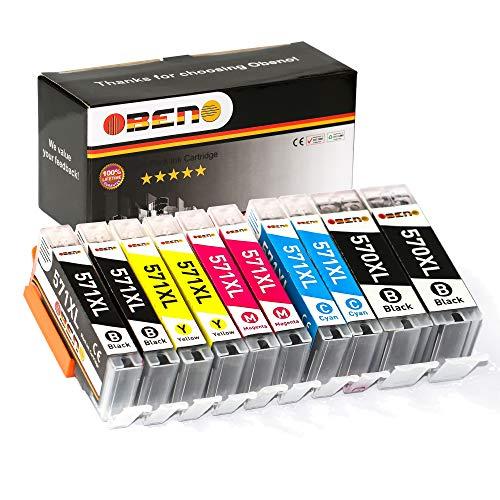 OBENO - 2 Sets - PGI-570XL CLI-571XL 10 Pack Compatibile Cartuccia Inchiostro Per CANON PIXMA MG5750/5751MG5753/6850/7750/7753 TS5050/6052/8050/9050/9055 (2 PG Nero, 2Nero, 2ciano, 2magenta, 2giallo)