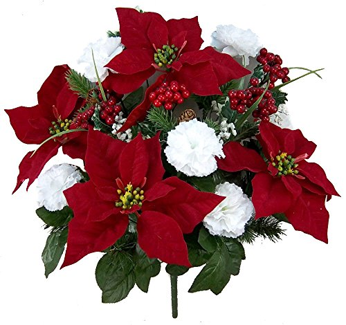 Admired By Nature Artificial Flower Bush, Carnation Poinsettia - RD/WT