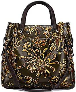 TOOGOO Retro Style Natural Skin Embossed Crossbody Shoulder Bag Top Layer Leather Handbag Green