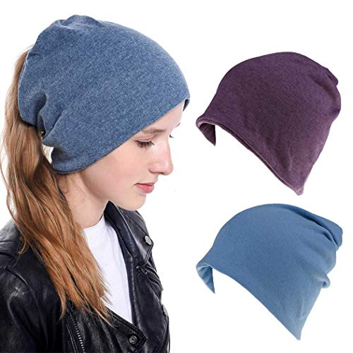 Fashband Multifonctionnel Hip Hop Casual Beanie Hat Cool Cotton Tie Skull Turban Hat Long Summer Hat 2 Packs for Women and Girls.