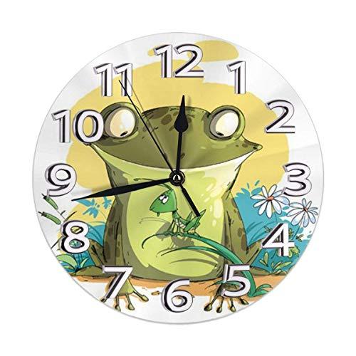 Xarchy Lovely Frog Relojes de Pared Redondos Reloj de Pared