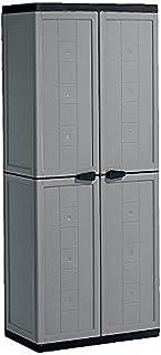 Kis Armoire Haute Jolly Gris-Noir, Plastique, 68 x 39 x 166 cm