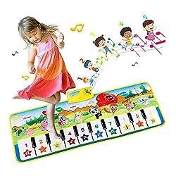 EXTSUD Piano Mat Tanzmatten Klaviermatte Musikmatte Kinder 8 Tierstimmen Klaviertastatur Spielzeug Musik Matte, Keyboard Matten Spielteppich Baby Tanzmatte für Jungen Mädchen Kinder 100*36 cm