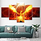 New 5 Pieces Paintings HD Modular Canvas Prints Wall Art Pictures For Bedroom Walls Fire Phoenix Wall Decoration for Kitchen Living Room Dining Room Decor-Frameless