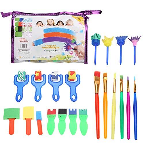 Zerodis 26 Piezas Kit de Pintura de esponjas con Pinceles Rodillos Kits de Pintura Aprendizaje temprano Juego de Pintura para niños Herramientas de Dibujo de Juguete para Manualidades de Arte