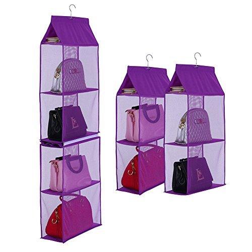 Businda 4slot Sac de rangement à suspendre pour femme Sac à main Sac à main Ladies Sacs pliable Sundry Armoire dressing pour filles 6X SNGD-Purple