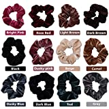 12 pcs Élastiques - Chouchou velours coloré - Bandes épaisses pour cheveux - Chouchous pour femmes - Élastiques pour cheveux chics en gris, gris, bleu, beige, rose foncé, rose rouge et noir