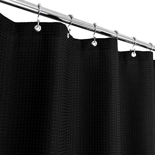 Waffle Weave Shower Curtain Hotel Luxury Spa, 230 GSM Heavy Duty Fabric, Water Repellent, Black, 71x72 Inch