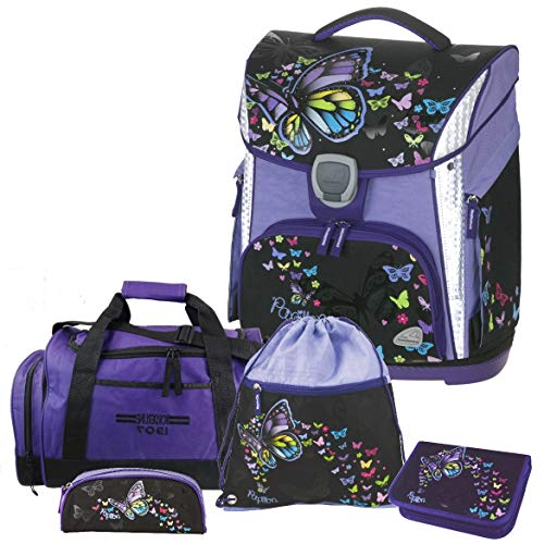 Papillon - Butterfly Schmetterling - Schneiders LED-TOOLBAG Plus Schulranzen-Set 5tlg mit LED-LEUCHTSYSTEM, Sporttasche