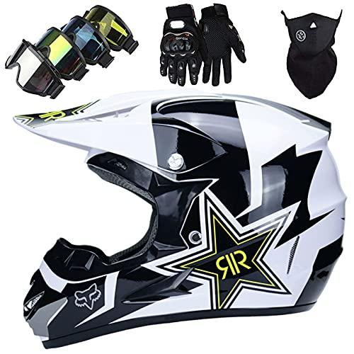 KILCVEM Casco Motocross Niño 5~12 Años ECE Homologado Casco Moto Integral Unisex para Descenso Enduro MTB Quad BMX Bicicleta Casco Infantil Set (4 Piezas) - con Diseño Fox - Blanco Negro Brillante,S