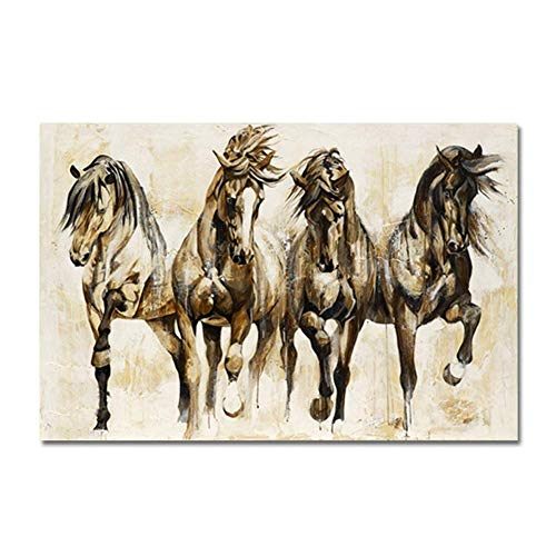 ZENDA Horse Portrait Painting Horse Canvas Art for Wall Decor Print Painting for Living Room Decoration Framed and Ready to Hang (Horse Racing, 47X31in)
