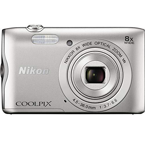 Nikon Coolpix A300 20.1MP 8x Optical Zoom NIKKOR WiFi Silver Digital Camera 26519B - (Renewed)
