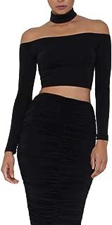 Womens Sexy Off Shoulder Long Sleeve Choker Zipper Crop Top