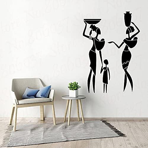 Familia africana Amor Mujer nativa Niños Estilo étnico Etiqueta de la pared Vinilo Arte Calcomanía Niños Guardería Dormitorio Sala de estar Oficina Estudio Decoración para el hogar Mural