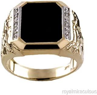 Designer Nugget Ring With Diamonds and Black Onyx Set in 14K White Gold or 14K Yellow Gold