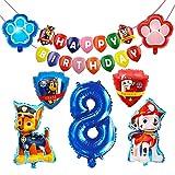 HONGECB Suministros de fiesta de Patrulla Canina, Decoración Cumpleaños Patrulla Canina, Banner de Happy Birthday, Numeros 8 Decoracion, Perros Foil Helio Balloons for Kids, 9 Piezas