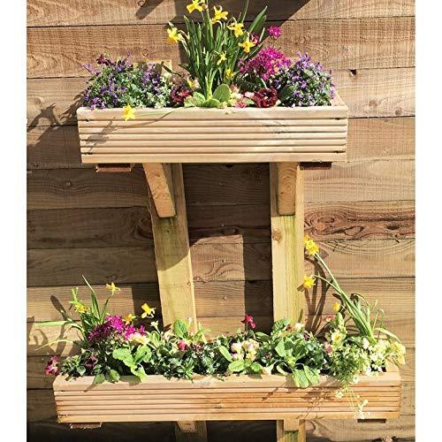 Enmarcado Decking de madera jardín maceta soporte de pared madera para macetas hecho a mano planta cajas: Amazon.es: Jardín