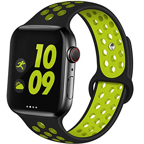 EXCHAR Sport Band Compatible with Apple Watch Band 44mm Series 5/4 Breathable Soft Silicone Replacement Wristband Women and Men for iWatch 42mm Series 3/2/1 Nike+ All Various Styles M/L Black-Yellow